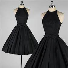 simple dresses neck pleated black girl prom dress keen length