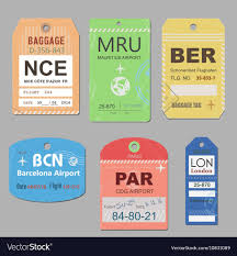 Vintage travel luggage tags royalty free vector image