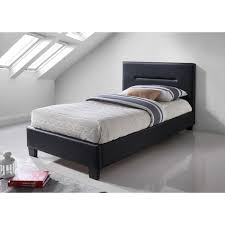 lit pour chambre lit enfant mixte design mitch noir en simili cuir 90x200 cm
