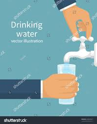 man opens water tap his hand stock vector 609950927 shutterstock