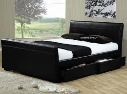5ft Bed Frame Black Faux Leather Houston 4 Storage Drawer Bed Frame 5ft Kingsize