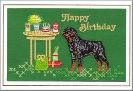 rottweiler birthday card embroidered by dogmania 8 x 6 g5060