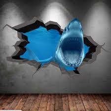 shark 3d cracked sea cave hole full colour wall art sticker zoom