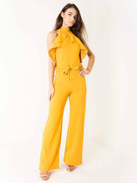 belted jumpsuit yellow belted ruffle jumpsuit shop myers boutique