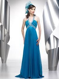 deep v neck ice blue floor length beaded empire style chiffon