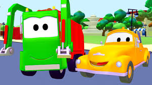 tom the tow truck and the garbage truck in car city trucks