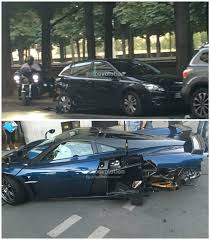 koenigsegg paris new pagani huayra paris crash pics show it hit a parked car