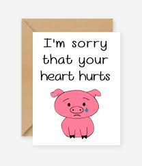 i m sorry your hurts greeting card blank inside