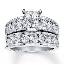 diamond bridal sets jared diamond bridal set 3 cttw princess cut 14k white gold