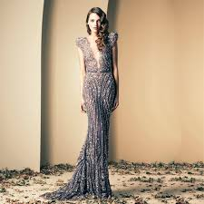 design abendkleider zaid glamorous v ausschnitt perlen flügelärmeln tüll meerjungfrau