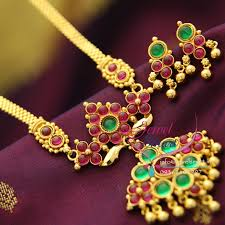 nl1796 south indian gold plated traditional kempu jewellery haram