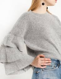 sleeve sweater grey ruffled sleeve sweater maglieria donna fashion