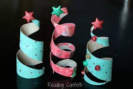toilet paper roll christmas trees reading confetti
