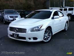 white nissan car 2010 nissan maxima 3 5 sv in winter frost white 860603