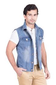 light blue denim jacket mens krossstitch sleeveless light blue men s denim jacket with brass button