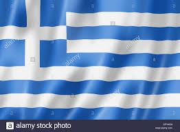 Greece Flag Colors Greece Flag Three Dimensional Render Satin Texture Stock Photo