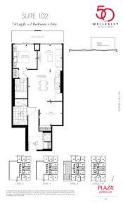 Fuzion Floor Plans 50 Wellesley Condos Floor Plans 1d2 Model