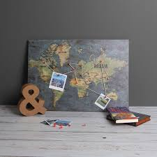 Personalised World Map Pinboard by Wooden Pin Board World Map Track And Display Your Travels