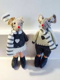 Christmas Mice Decorations Grey Nordic Style Christmas Mice Fabric Hanging Decorations