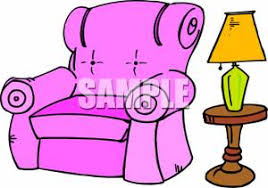 purple recliner next to a table lamp clipart