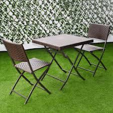 Folding Patio Furniture Set by 3 Pcs Patio Folding Rattan Seat Outdoor Furniture Sets Outdoor