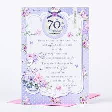 70th birthday card traditional flowers only 89p