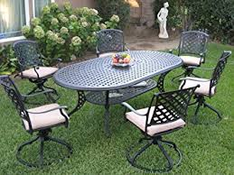 Swivel Rocker Patio Dining Sets Outdoor Cast Aluminum Patio Furniture 7 Dining