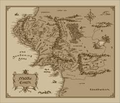 Map Fabric Medium Middle Earth Map Cotton Fabric Lord Of The Rings The