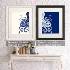 bathroom decor 2 octopus prints navy blue cream nautical