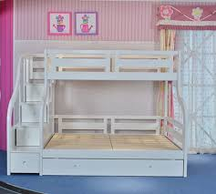 Luxury Carved Solid Wood White Triple Bunk Bed With Guest Bed - Solid oak bunk beds with stairs