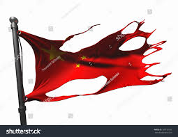 Chineses Flag Tattered Chinese Flag On White Stock Illustration 109133150