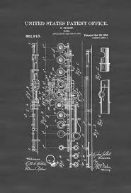 Music Decor 1908 Flute Patent Patent Print Wall Decor Music Poster Music
