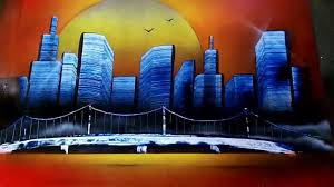 Spray Paint Artist - simple sunset skyline spray paint art watch or download