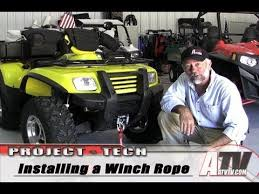 atv television installing an atv synthetic winch cable youtube