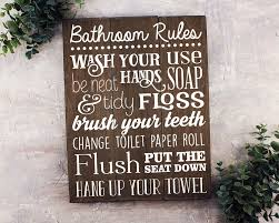 Bathroom Wall Decorations Bathroom Rules Sign Bathroom Rules Sign Rustic Kids Bathroom