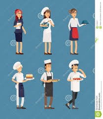 lovely line up group of restaurant staff characters stock vector