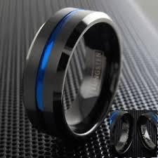 thin blue line wedding band 6 8mm black tungsten brushed thin blue line wedding band ring