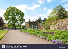 the walled garden full of flowers and plants on the ripley castle