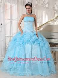 baby blue quinceanera dresses blue gown strapless floor length organza beading quinceanera
