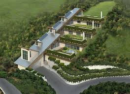 green home design ideas green housing designs house on a hill drawing house on a hill on