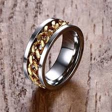 worry ring men s stainless steel silver gold tone spinning worry ring with