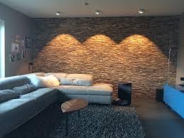 Wandgestaltung Wohnzimmer Mit Beleuchtung Holz Wandverkleidung Teak Grau Braun Bs Holzdesign