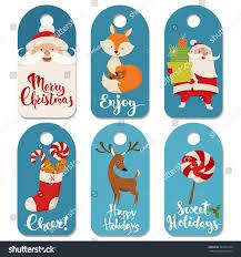 set christmas vector labels funny christmas stock vector 349701374