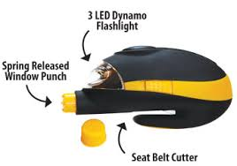 Seat Belt Cutter Window Punch - 3 in 1 emergency car auto tool seat belt cutter window punch 3 led