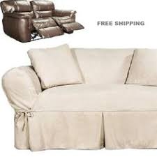 Sure Fit Dual Reclining Sofa Slipcover Reclining Sofa Slipcover Ribbed Texture Chocolate Adapted For Dual