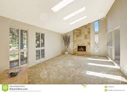 Beautiful Living Rooms Beautitful Living Room With Vaulted Ceiling And Skylights Empty