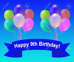 happy ninth birthday balloons meaning 9th celebration 3d