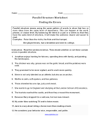 finding errors parallel structure worksheets englishlinx com
