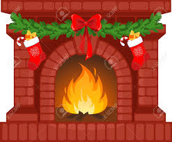vector illustration of christmas fireplace with socks royalty free