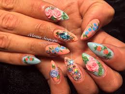 acrylic nails with hand painted nail art roses peach baby blue